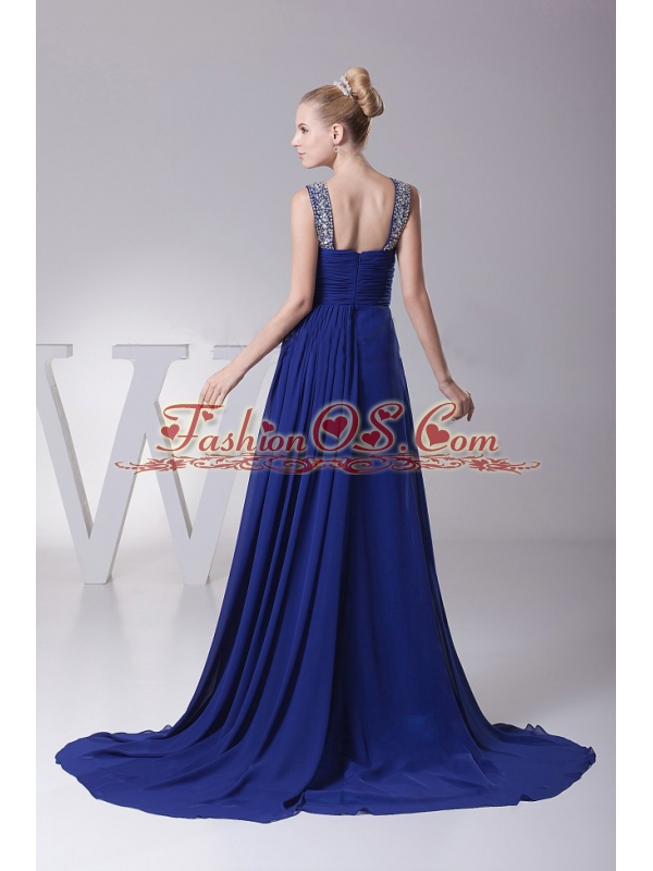 Beaded Decorate V-neck and Ruch For Blue Prom Dress With Brush Trian