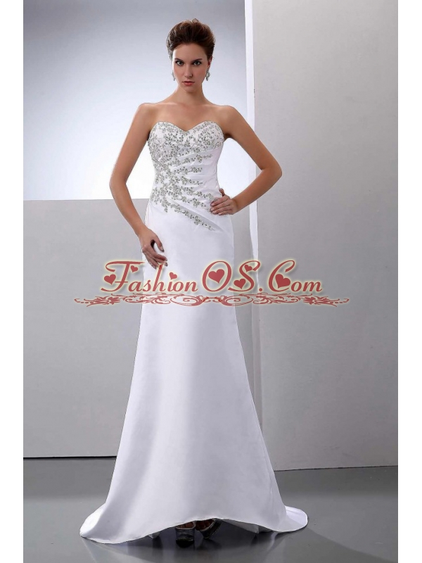 Beading Brush / Sweep Train Satin Column Sweetheart Wedding Dress