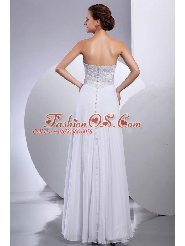 Beading Empire Chiffon Floor-length Strapless Wedding Dress