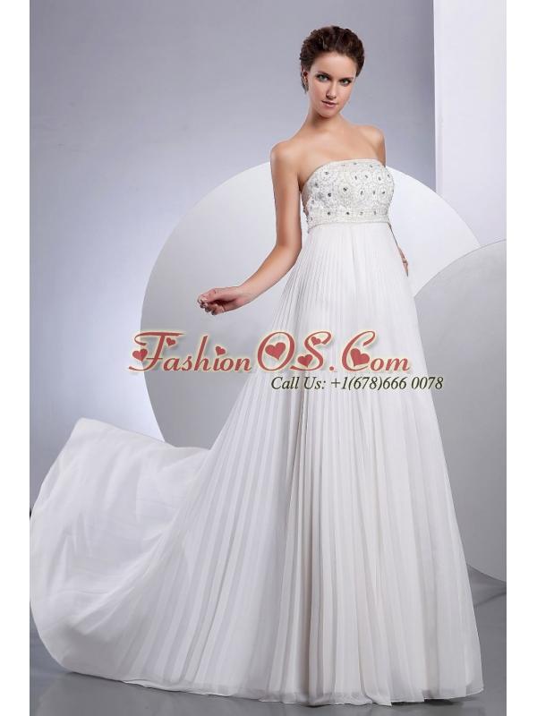 Beading Empire Court Train Chiffon Wedding Dress Strapless
