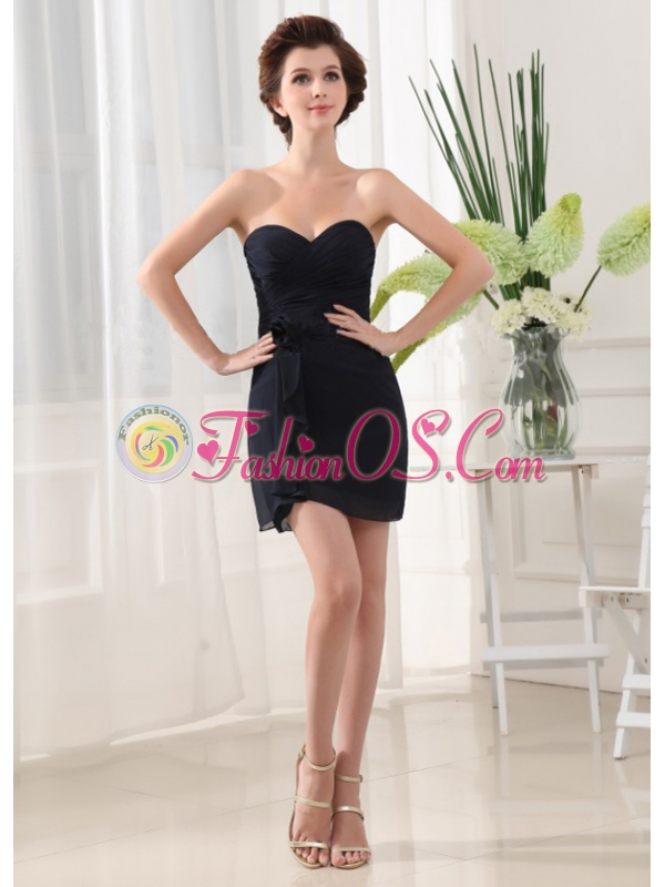 Black Prom Dress With Sweetheart Mini-length and Chiffon