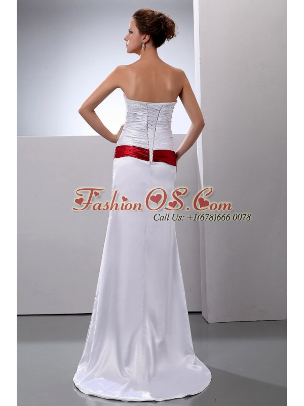 Column Strapless Elastic Woven Satin Ruched Brush / Sweep Train Wedding Dress