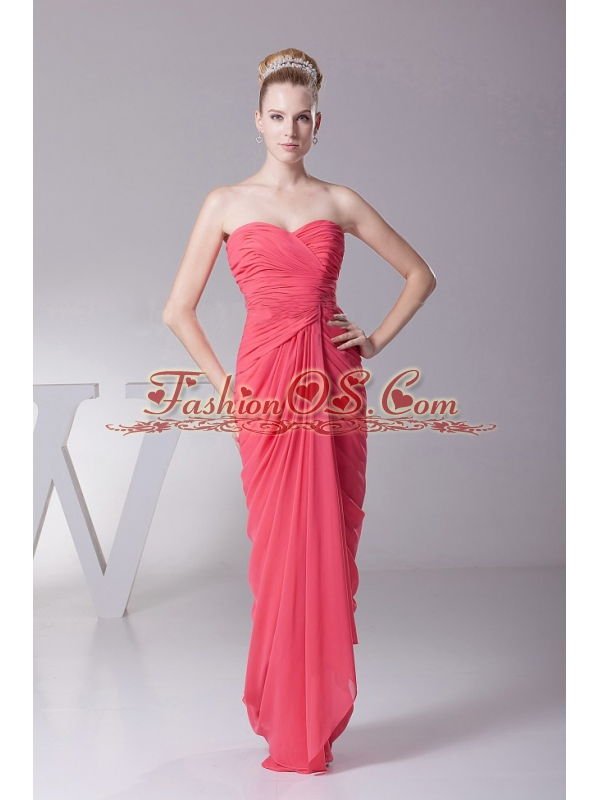 Coral Red Prom Dres With Chiffon Ruched Bodice and Sweetheart