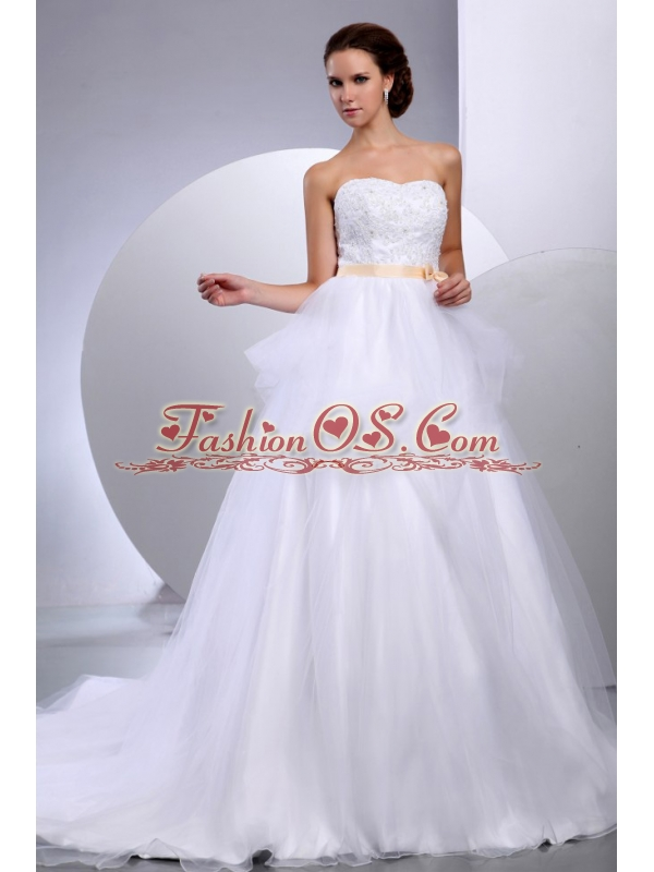 Custom Made Pretty Strapless Wedding Gowns With Appliques and Sash In Wedding Party