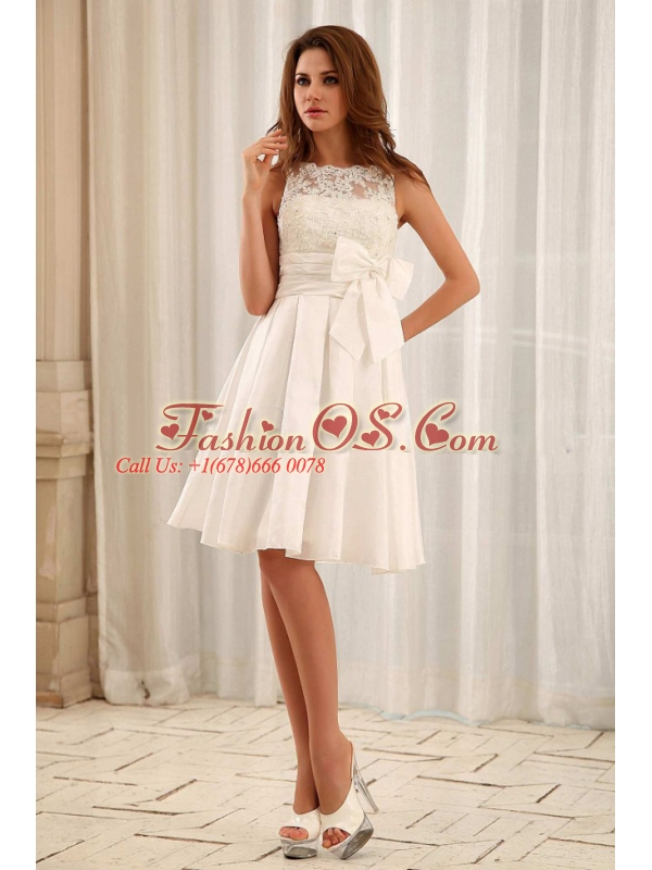 Custom Made Sweet Bateau Short Wedding Gowns With Lace and Sash