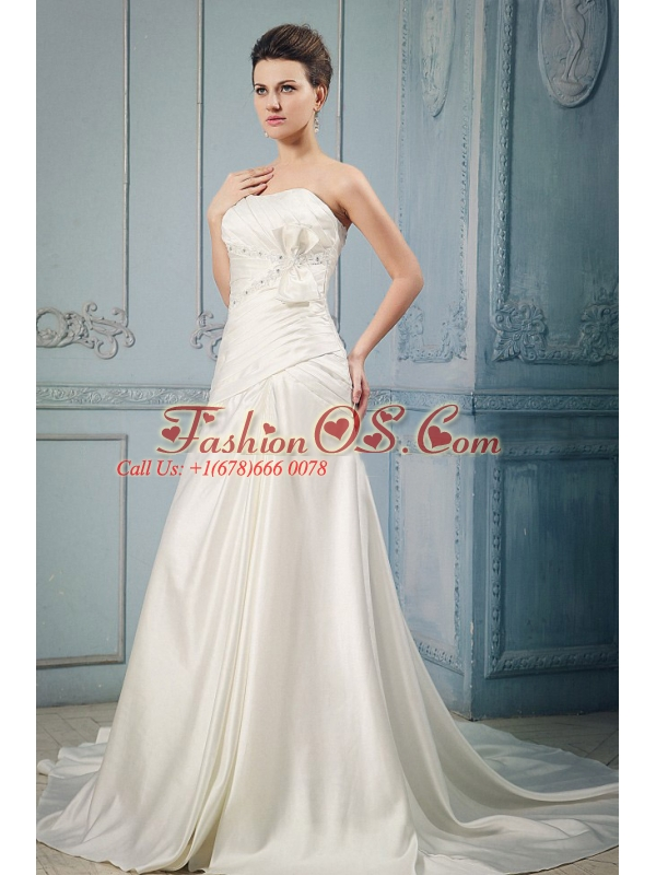 Elegant Wedding Dress With A-line Appliques and Beading Ruching Bow Chapel Train