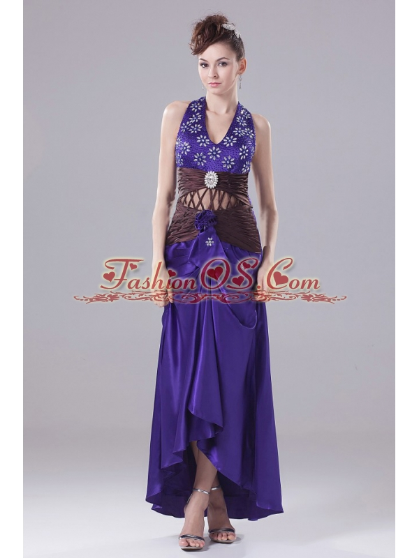 Exquisite Purple Prom Dress With Beading Halter and High-low