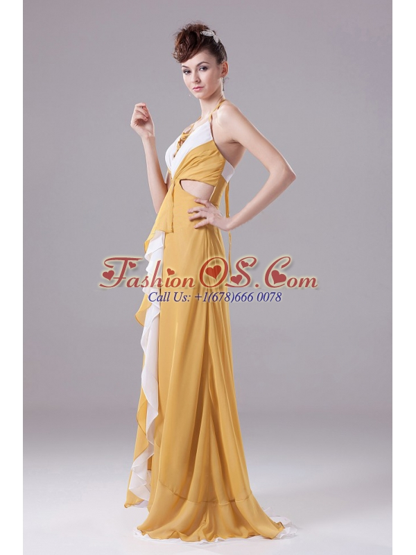 Gold Prom Dress With Halter Ruch adn Brush Train For Custom Made