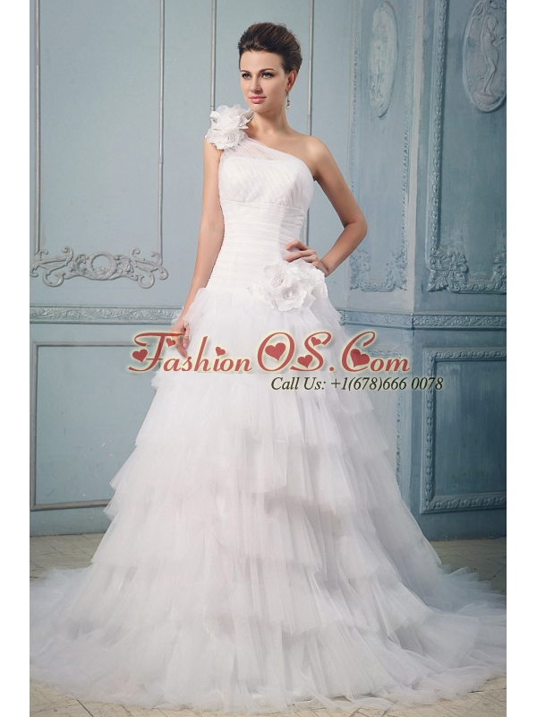 Luxurious Wedding Dress With Ruffled Layered One Shoulder Hand Made Flowers
