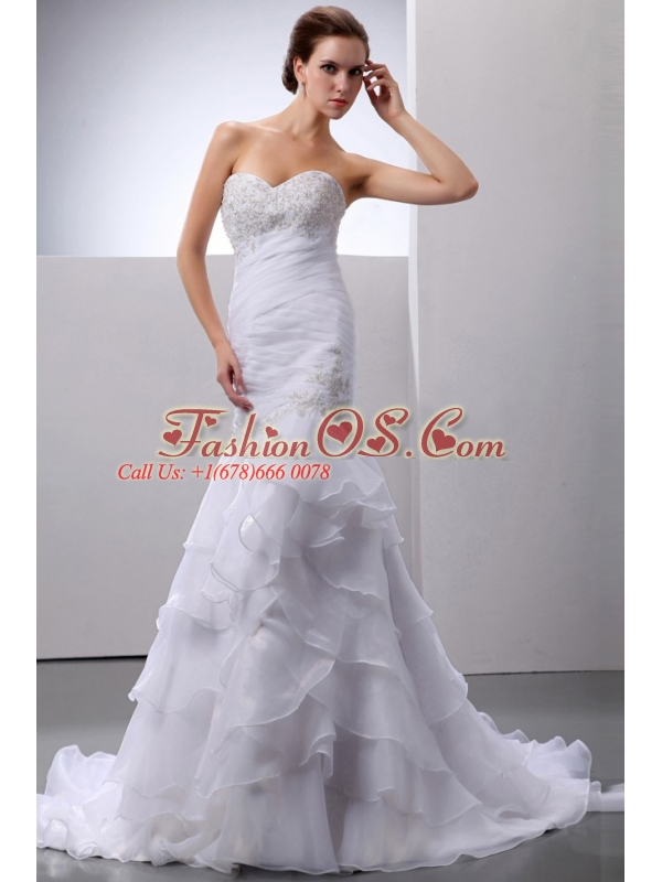 Mermaid / Trumpet Organza Beading and Ruffles Sweetheart Court Train Wedding Dress