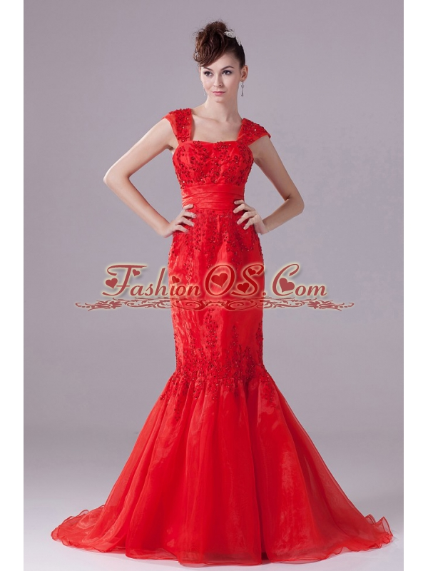 Mermaid Beading For Square Red Prom Dress