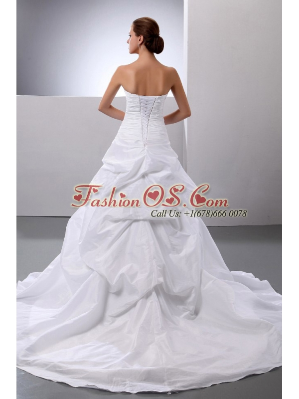 New Arrival Princess Appliques and Pick-ups Wedding Dress With Taffeta In 2013