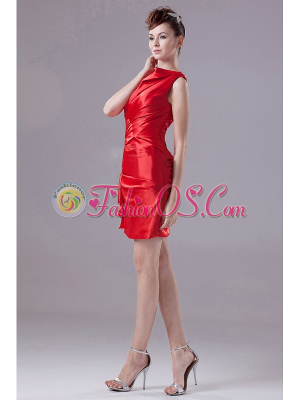 Red and Mini-length For Prom Dress With Taffeta and Bateau