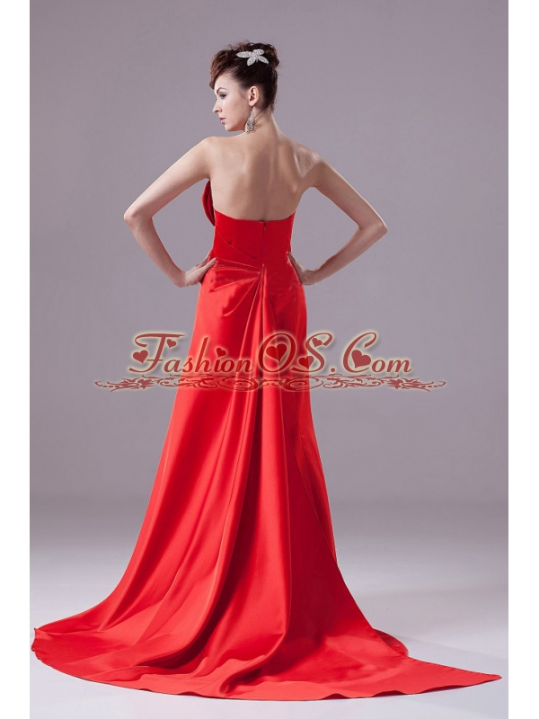 Red Prom Dress With A-line Beading Strapless and Satin