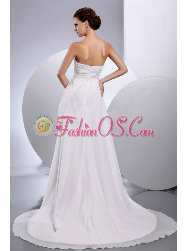 Ruched Court Train Chiffon Wedding Dress Strapless Empire