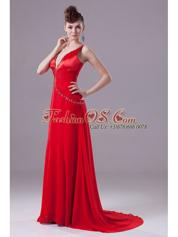 Sexy Red Prom Dress With Beading V-neck and Brush Train