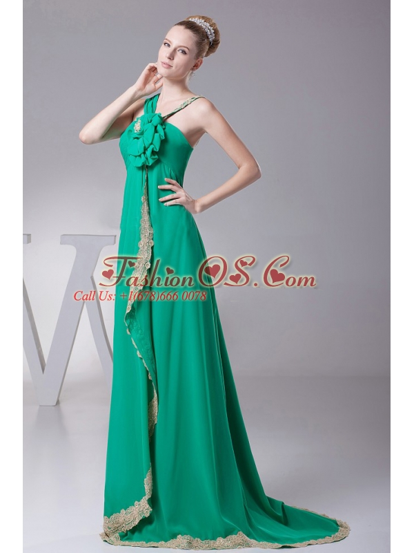 Turquoise and Hand Made Flowers For 2013 Prom Dress With Lace Decorate
