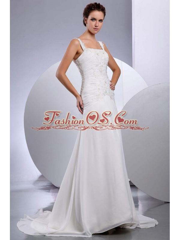 Wedding Dress Embroidery Brush / Sweep Train Straps A-Line / Princess Chiffon