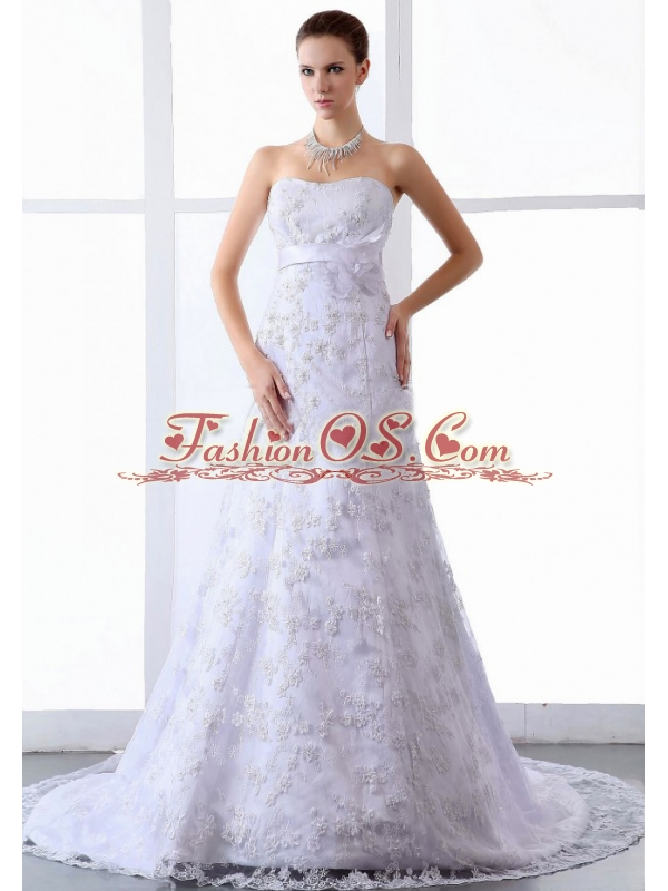 2013 Wedding Dress Lace Tulle Brush / Sweep Train Strapless A-Line