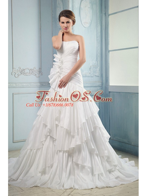 2013 Wedding Dress With Ruching and Beading Ruffled Layers Court Train A-line For Custom Made