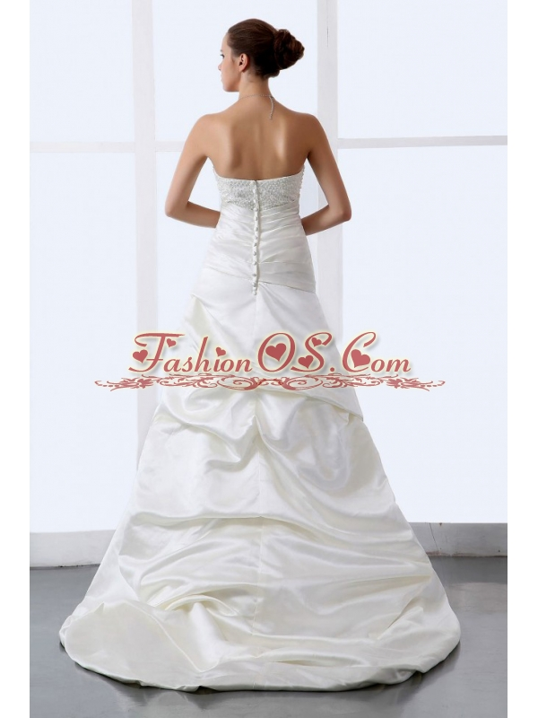 Beaded Decorate Bodice Sweetheart Hottest Wedding Dress With Brush For Custom Made
