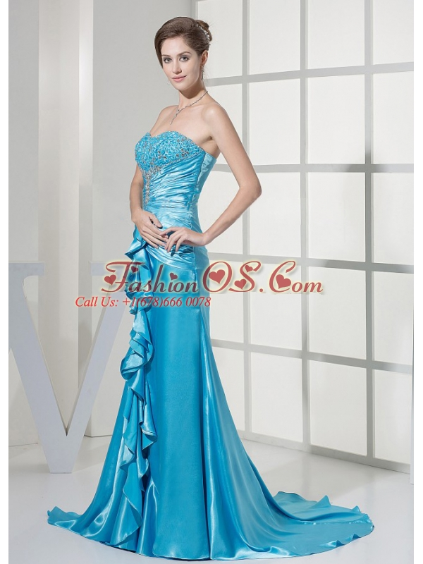Beaded Decorate Bust and Ruched Bodice For Teal Prom Dress