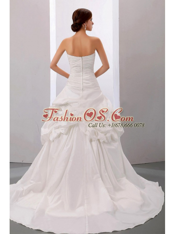 Beading A-Line / Princess Strapless Court Train Wedding Dress Taffeta