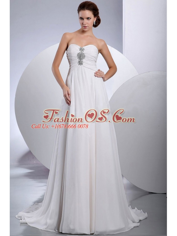 Beading Brush / Sweep Train Chiffon Wedding Dress Sweetheart Empire