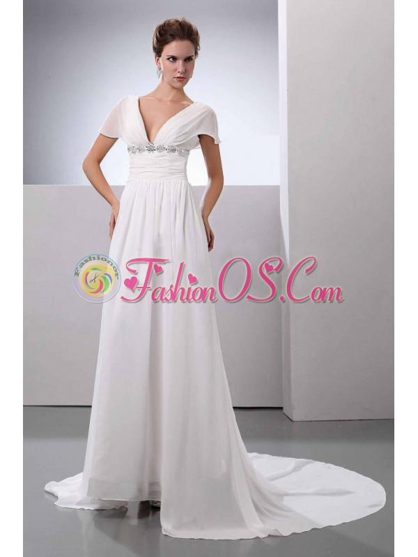 Beading V-Neck Court Train Chiffon Wedding Dress Empire