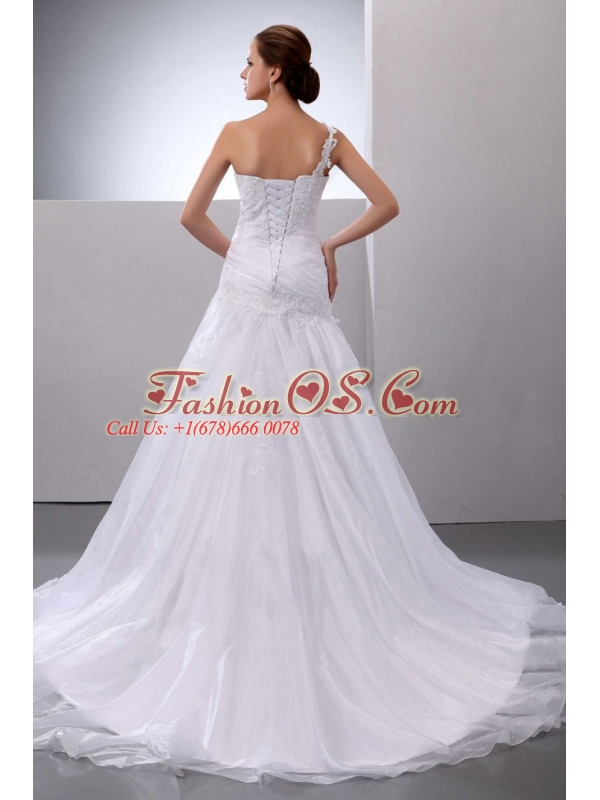 Brand New Wedding Dress With One Shoulder Appliques Court Train Organza