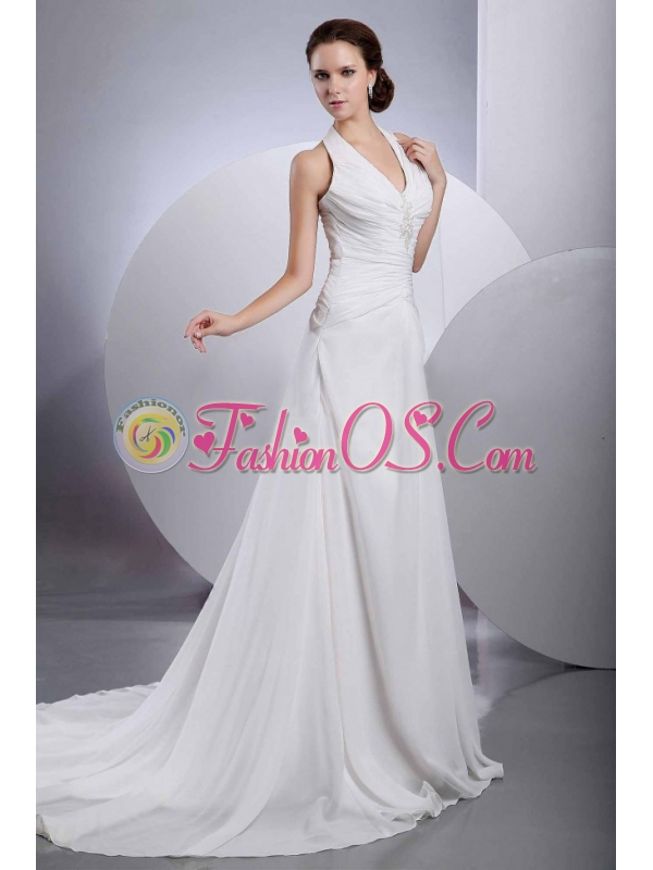 Chiffon Halter Appliques Brand new Wedding Dress With Buttons Back
