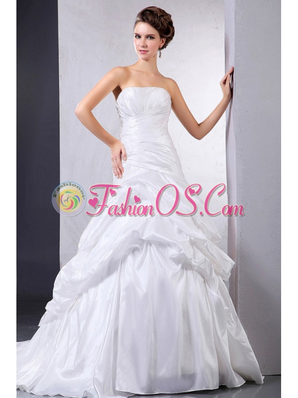 Custom Made 2013 Ball Gown Wedding Dress With Pick-ups and Ruching Court Train