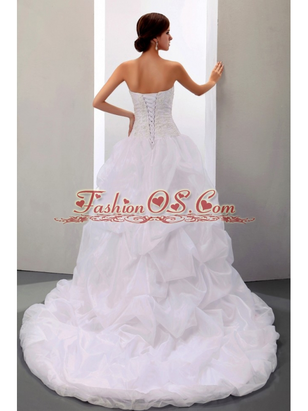 Custom Made 2013 Wedding Dress With Appliques and Pick-ups Court Train Ball Gown