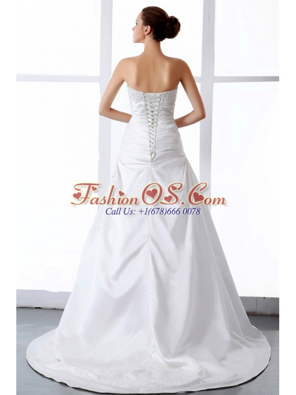 Gorgeous Wedding Dress With Appliques A-line Court Train Satin