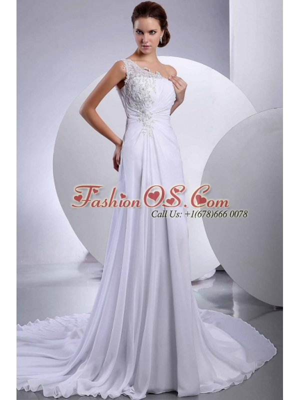 Lace Court Train One Shoulder Chiffon Wedding Dress Empire