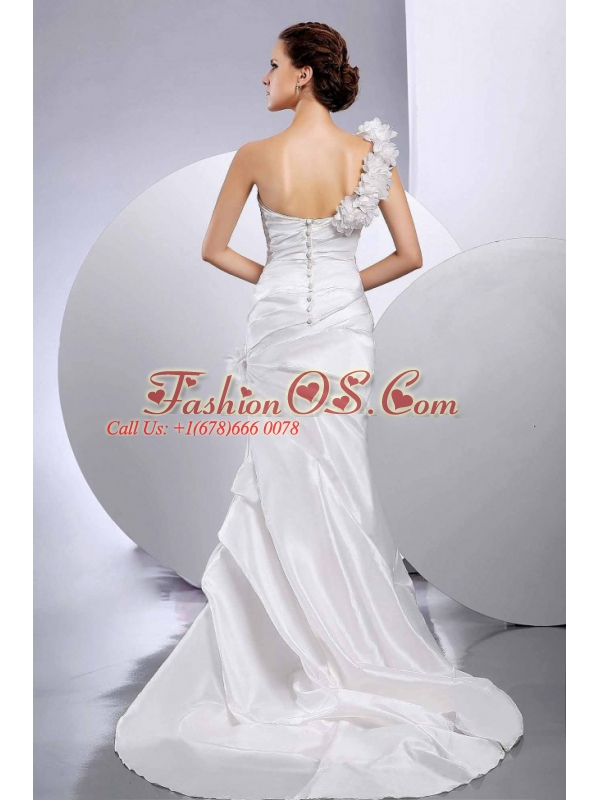 Mermaid / Trumpet One Shoulder Hand Made Flower Wedding Dress Custom Made