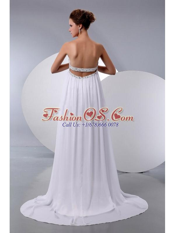 Pretty 2013 Wedding Dress With Beading Court Train Chiffon Empire
