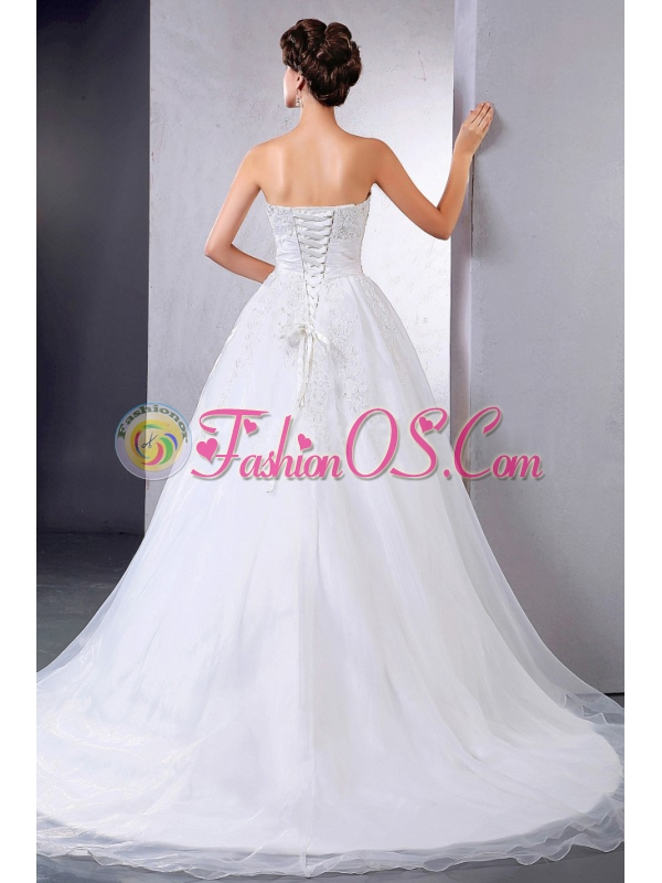 Pretty Ball Gown Wedding Dress With Appliques Chapel Train For Custom Made