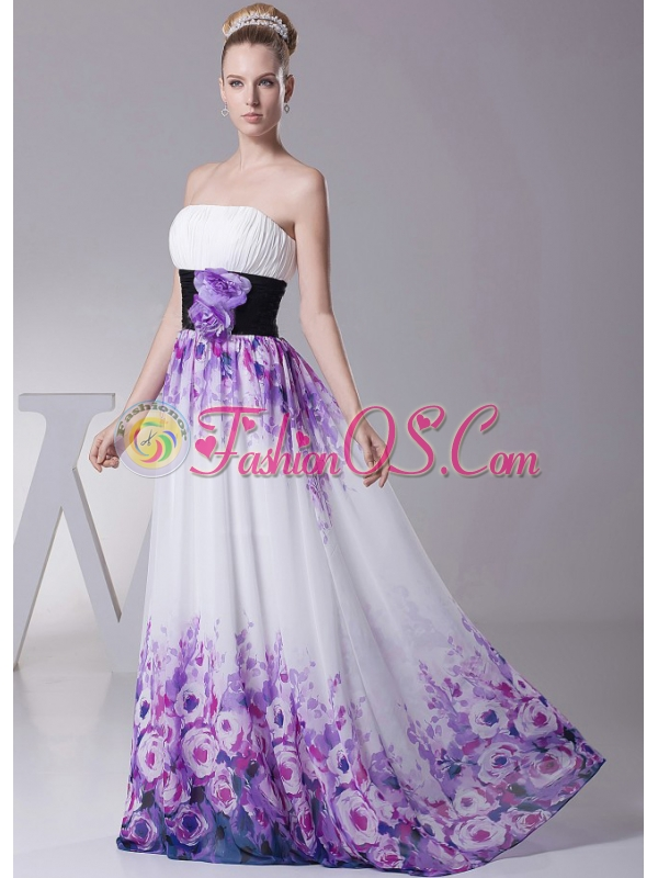 Printing Prom Dress With Hand Made Flowers and Ruch