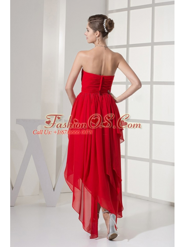 Red Prom Dress With Beading and Chiffon For Custom Made