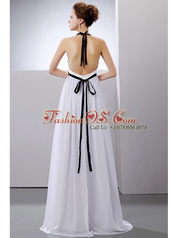 Sexy Wedding Dress With Halter Empire Chiffon For Custom Made