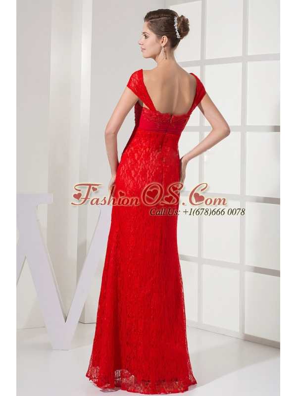 Square Red Prom Dress With Lace Over Skirt and Cap Sleeves