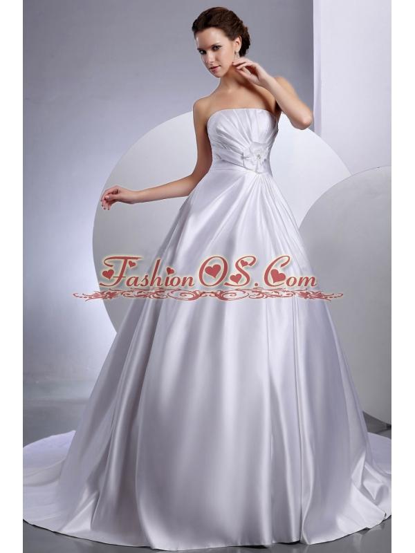 Strapless Ball Gown Hand Made Flowers Chapel Train Wedding Dress