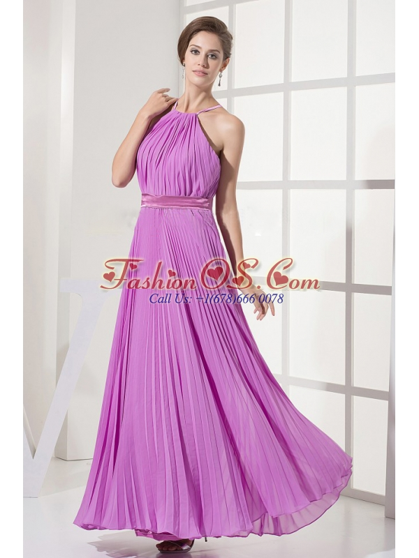 Straps and Lavender For Prom Dress With Ruched Over Skirt