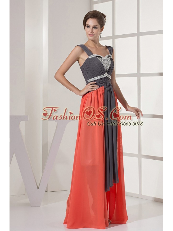 Straps and Ruched Beading For Prom Dress