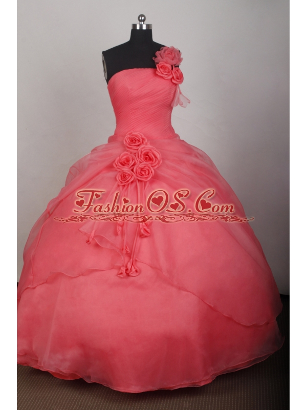 2013 Watermelon One Shoulder Quinceanera dress With Hand made flowers Ruched Bodice Organza Floor-length