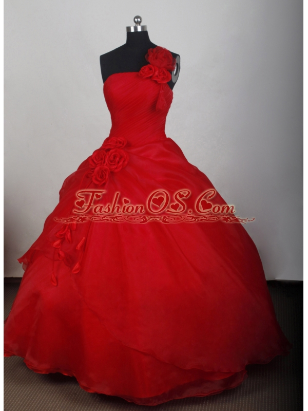 Red Quinceanera Dress with One Shoulder Hand Made Flowers and Organza for Custom Made