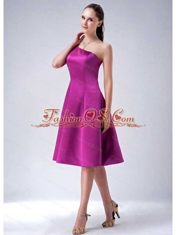 A-line / Princess One Shoulder Fuchsia Cheap Dama Dress