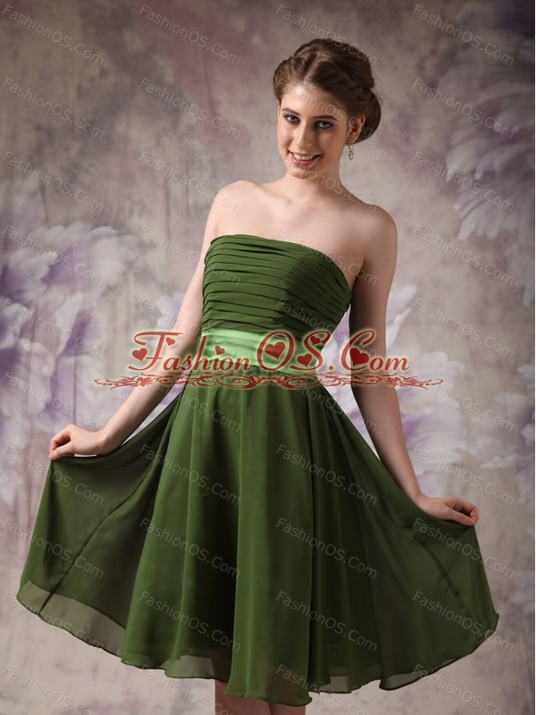 Empire Strapless Knee-length Chiffon Sash Dama Dresses On Sale