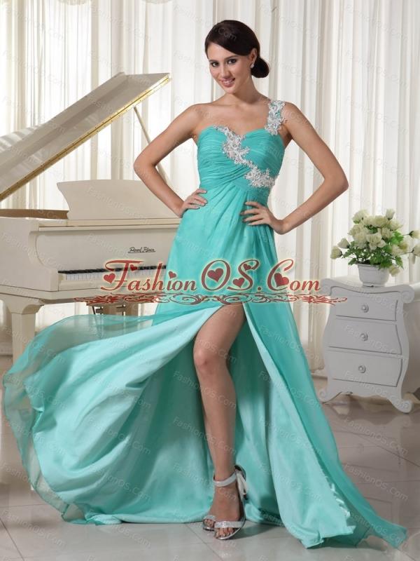 Long Turquoise One Shoulder Appliques Dama Dress On Sale